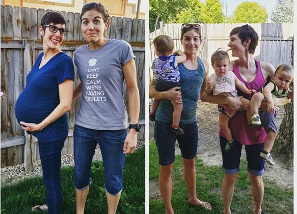 Madres lesbianas de trillizos